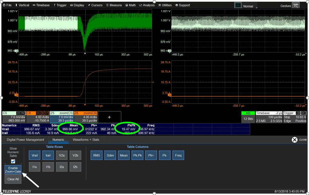 Один клик на «Zoom+Gate»обеспечивает растяжку и синхронизацию форм, задает область увеличения для всех измерений.