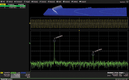 Экран осциллографа в режиме Spectrum